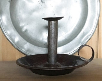 Antique Toleware Chamberstick, Old Tin Candlestick. Wee Willie Winkie