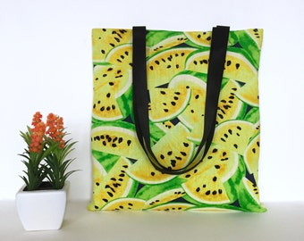 Watermelon Tote Bag, Watermelon Tote, Watermelon Bag, Cotton Canvas Tote Bag, Canvas Tote, Beach Tote Bag, Fruit bags, Gift for her, Totes