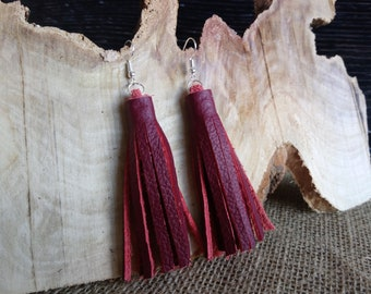 Beautiful red real leather tassel style drop earrings - dangly / hook / silver plated