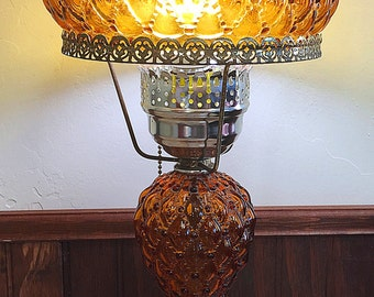 Amber Fenton Student Lamp Quilted Glass Beaded Shade Vintage