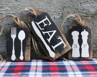 Eat Kitchen Decor Wood Tags Rustic Distressed Fork Knife Spoon Chef Gift Sign Set Cabin Decor Rustic Decor