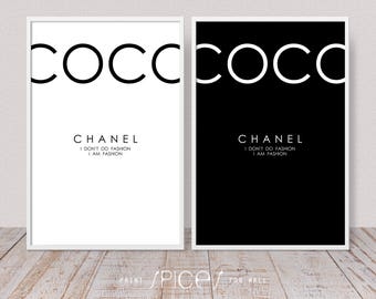 Coco Chanel Print, Fashion Poster, Trendy Wall Art, I Am Fashion Text Poster, Quote Above Bed, Living Room Monochrome Decor, Set of 2