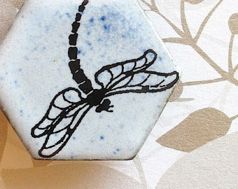 Dragonfly Brooch. Pale Blue Sky on Black Porcelain Hexagon. Alice Blue. Faded Denim. Indigo. Lake. Pond. Stream. Insect. Up North. Nature