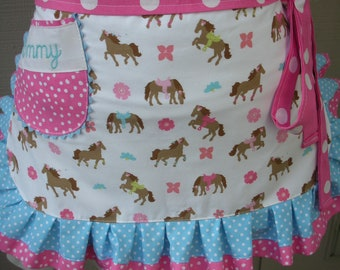 Womens Aprons - Pink Cowgirl Aprons - Womens Horse Aprons - Pink Aprons - Monogrammed Aprons - I Love Horses Aprons - Annies Attic Aprons