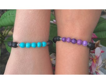 Amethyst and Turquoise Lava Rock Bead Bracelet