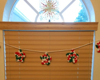 Bunting - Banner - Holiday Christmas Star Crochet 6.5 Feet