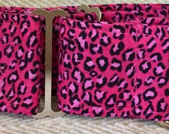 2 Inch Martingale, Dog Collar, Sighthound, Greyhound, Pink Leopard