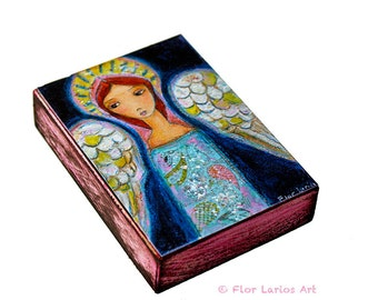 My Wings are for You Angel  - ACEO Giclee print mounted on Wood (2.5 x 3.5 inches) by FLOR LARIOS
