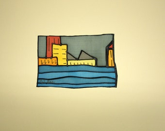 FREE SHIPPING Silk Painting - Original painting - Painting on silk - Handpainting - City silk painting - 16 x 11 cm