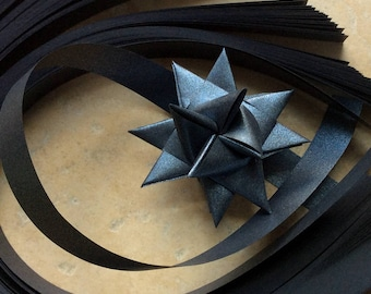 Paper Strips to make 3D Stars (Moravian Froebel Quilling Weaving) Black Sheen 3/4 in wide over 400 strips