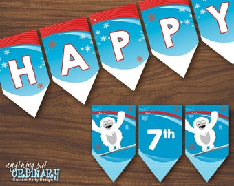 Abominable Snowman Birthday Banner, Winter Wonderland Yeti Banner, INSTANT DOWNLOAD printable digital file