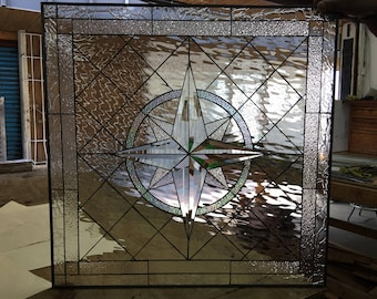"""The """"Maywood"""" Compass rose Stained Glass Window Panel (We do custom work! Please email me for a quick quote) Artglass Leaded  Art"""