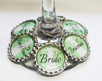 Set of 6 - PERSONALIZED WINE CHARMS - Bridal Party Fancy Chic- Perfect For  Bachelorette Party Favors, Wedding Favor, and Parties