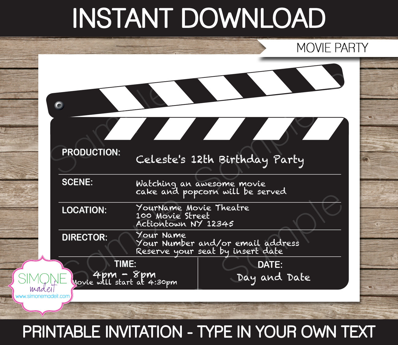 Movie Invitation Template Movie Night Birthday Party