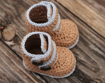 """Crochet Pattern Baby Booties, Baby Boy Booties """"Kohl Button Boot"""" Modern Bootie Pattern, Boys, Crochet Booties PATTERN ONLY"""