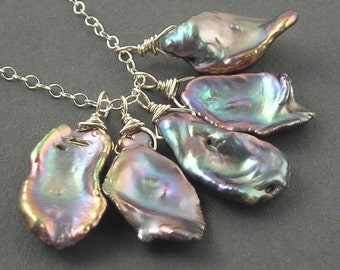 Oyster Bay Necklace - Keishi Pearls, Amethyst and Sterling Silver
