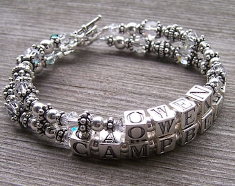 3 Strand Custom Made Personalized  Mothers Grandmothers  Name Bracelet with Sterling Swarovski