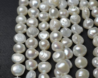 Baroque pearl leather pearl Large Hole Freshwater pearls Pebble pearls Loose pearls pearl necklace 11.5-13mm White 32pcs Full Strand PL3178