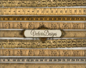 Vintage Tape Measure measuring old printable paper craft art hobby crafting scrapbooking instant download digital collage sheet - VD0271