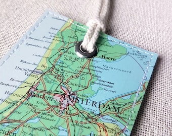 Amsterdam Netherlands luggage tag made with original vintage map