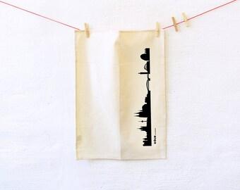 Dish Towel Cologne black, Cologne tea towel, green gift, Cologne skyline print, Kitchen Decor, Cologne hostess gift, Novalty towel, 44spaces