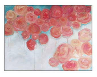 Large Abstract Original Flower Painting on Canvas Modern Acrylic Painting - 30x40 -Pink, Peach, Cream, Turquoise