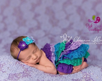 Newborn Coming home outfit 2PC, or 3 PC or 4 PC set ,Purple Romper-Vintage lace petti romper. Baby 1st Birthday Outfit. Hospital Photos