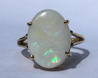Vintage Opal Engagement Ring. Oval White Opal. 10K Yellow Gold. Unique Engagement Ring. October Birthstone. 14th Anniversary Gift. Estate