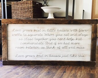EXTRA LARGE love grows best in little houses - LARGE love grows best in little houses sign - rustic farmhouse handmade sign
