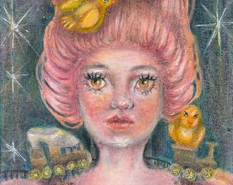whimsical girl original art. ATC ACEO artist trading card. Miniature painting. Affordable collectable art.
