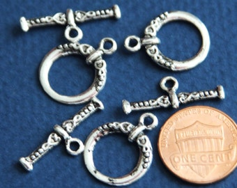10 sets of Antiqued Silver fancy toggle clasps 18x15mm