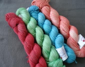 Hand Knitting Kit, DIY, Shawl Kit, Hand Dyed Hand Painted Baby Alpaca Yarn Tencel Yarn Blend, Mariquita by The Alpaca Yarn Co., Sport Weight