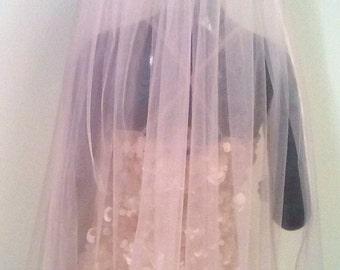 Powder Blush Pink Wedding veil Cathedral colorful veil. Wedding Veil bridal veil, soft tulle veil