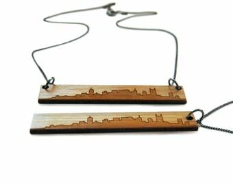 Nashville Skyline Necklace - Wood Etched Jewelry