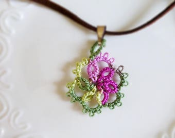 Tatted necklace, tatted lace, tatted pendant necklace, velvet cord, pink and green, tatted jewelry, lace jewelry, gift idea, ready to ship