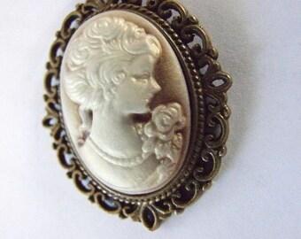 Cameo  Pendant Antique Brass look  with velvet cord