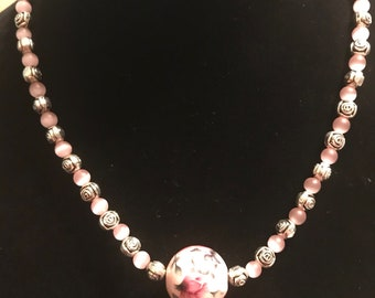 Pink Rose beaded necklace