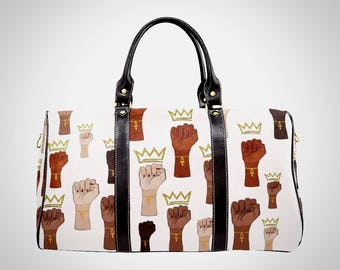 Queens Stand Up Custom Waterproof Travel or Carry on Luggage Bag with Black Strap Women Girlfriend Gift Black Unity Fists