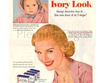 1955 Ivory Soap Vintage Ad, Retro Beauty, 1950's Beauty, 1950's Baby, 1950's Housewife, Retro Ad, Procter & Gamble.