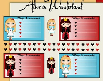 Alice in Wonderland stickers journal stickers planner stickers Queen of Hearts