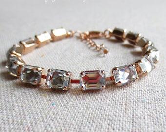 Swarovski Clear Faux Diamond Baguette Octagon Crystal Rose Gold Tennis Bracelet Wedding Bridal Jewelry Bridesmaid Gifts
