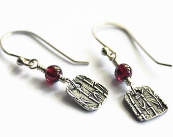 Garnet and Silver Earrings, Bamboo Texture, Trapezoids, Fine Silver PMC