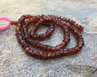 Faceted Garnet Rondells, Garnet Beads, 3.5 mm, 13 inch strand