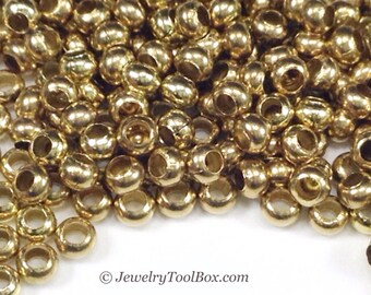 11/0 Seed Beads, Metal, Size 11, YELLOW BRASS, 1.5x2.5mm, Brass Spacers, Made in the USA, Lead Free, Nickel Free, Lot Size 16 grams, #1443