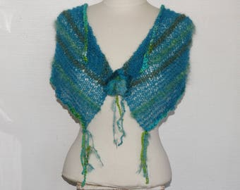 Gauzy shawl version blue mohair lace and hand spun wool