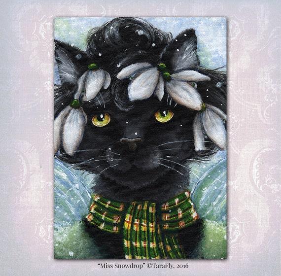 Snowdrop Fairy Cat 5x7 Fine Art Print