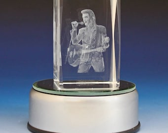 3D Glass Laser Cube with Guitar Man