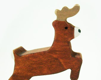 Wooden Reindeer Toy- Christmas Eco-friendly Gift- Waldorf