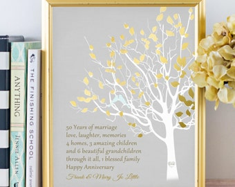 Golden Anniversary Family Tree Canvas Print Personalized 50th Anniversary Gift for Parents Customized Keepsake Gift Love Story Faux Gold
