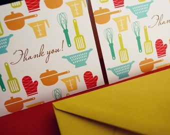 Thank You- kitchen tools cards, set of 6